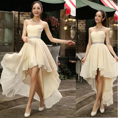 Best Sale 2014 Crystal Sashes Sleeveless Pleat Chiffon Short Front Long Back Bandage Evening Dresses(China (Mainland))