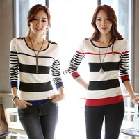 New 2013 Autumn Winter Fashion Long Sleeve Stripe Thin Wool Sweater Pullover For Women 19698