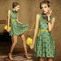 2014 New hot Sale Retro Pleated Cute Vintage Lapel Women Girl Floral Printed Sleeveless Mini Dress With Belt SV001547 b004