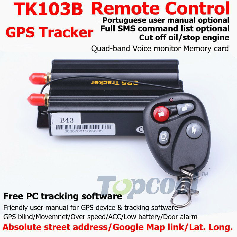 Car GPS tracker Remote Control TK103B mobile phone tracking Web&Free PC GPS Monitor system GPS 103 Portuguese Manual Optional(China (Mainland))