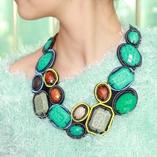 Hot Sale Boho Collar Necklaces,Fashion Chokers With Hi-Q Colorful Resins And Ribbon For Women(China (Mainland))