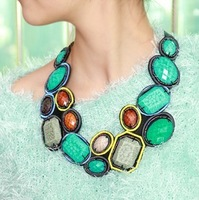 Hot Sale Boho Collar Necklaces,Fashion Chokers With Hi-Q Colorful Resins And Ribbon For Women