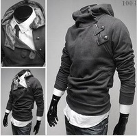 Promotion!2013 Hot sale!Fashion Casual High Collar Mens tops cotton blends Special Button Hoodies Jacket 4color,China size.