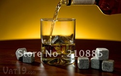 New arrival hotsale 9pcs (1 sets) velvet bag whisky rocks,whisky stones,beer stone,whisky ice stone, free shipping(China (Mainland))