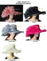 NEW COLOR ARRIVAL.Crystal Organza  Hat with Large Organza Trim for Kentucy Derby,Church,4 colors.brim width 13.5cm,grey no stock