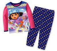 Girls' Spring/Fall Long Sleeves Lycra Pajamas Kids' Cartoon Sleepwear Children Long Nightwear, 6 Sizes/lot - GPA435/440