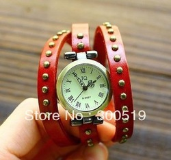 JW001 Fashion Popular 9 colors Round Rivets Rome Woman Watch Bracelet Watch Genuine Leather Band dress watch Free Shipping(China (Mainland))