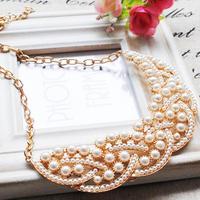 Charm Pearl Gold Plated Alloy False Collar Choker Bib Statement Necklaces & Pendants 2014 New Fashion Jewelry Women Wholesale N8