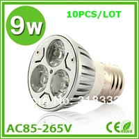 10pcs/lot 9w Cree spotlight E27  silver die- cast alumium lamp energy-saving lamp cool/warm white Cree light/led bulb