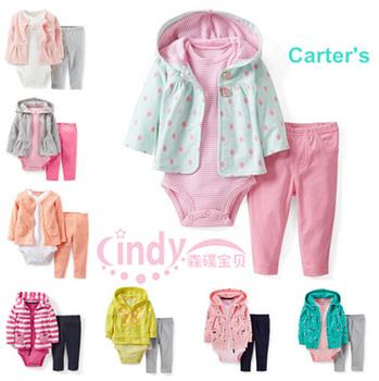 2015 Original Carters Baby Girls Clothing Set , Baby Girls Hooded Cardigan + Pant + Bodysuit 3 pieces Clothing, Freeshipping