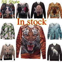 New 2013 Women/Men animal Space pullovers Galaxy Sweatshirts Tiger/Panda/leopard 3d sweaters hoodies blouse Top
