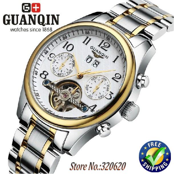 Guaranteed! Original Men luxury brand watches swiss GUANQIN Tourbillon Watches Sapphire Waterproof mechanical Watches fashion hours(China (Mainland))