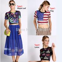blusas femininas 2014 woman clothes cropped Harajuku crop tops vestido de festa flag tshirt women clothing t-shirt