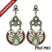 Free Shipping Min Order $10 (Mix Order) New Arrival Vintage Women Gold Plated Green Resin Drop Statement Drop Earrings Jewelry