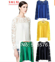 2014 womens' sexy Lace Sleeve Chiffion Blouse Shirt casual cozy elegant tops gorgeous long sleeve brand design