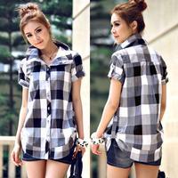 2014 Summer Plus Size Clothing  Female Black And White Plaid Shirt British Style Blouse Free Shipping
