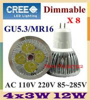 Free shipping 10 pcs Dimmable CREE 12W 9W GU5.3 E27 MR16 GU10 B22 E14 Led spotlight downlight bulb lamp led light LED lighting