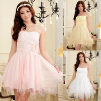 New Fashion 2013  3 Colors Strapless Short Brides Maid dress Free Shipping Z066
