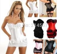 New Hot Sales Sexy Plastic Boned Lace up Lingerie Gothic Corset Bustier&Mini Skirt plus size SML XL2XL3XL4XL5XL6XL
