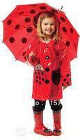 free shiping,children's birthday gifts rainboots,waterproof boots,kids rain boots USA Ladybugs raincoat unbrella,Ladybugs bag