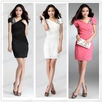 Free Shipping Women' Overlay Sleeve Sheer Short Sleeve  Rhinestones Slim Evening Mini Dress