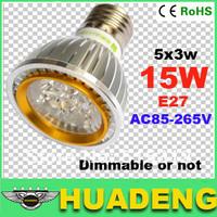 wholesale price 12W/15w 3x4w 3x5w  dimmable led spotlight E27 AC85-265V alumium lamp pure white/warm white,free shipping