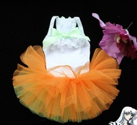 1 piece White strap Orange Green CUTE dress for dog puppy cat puppy pet summer clothes