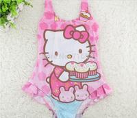 5pcs/lot Cut cartoon hello kitty with Dessert Children piece swimsuit