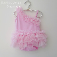 2013 summer New Arrival baby girl's fashion sleeveless cotton romper with pink baby romper tutu free shipping