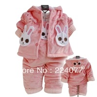 free shipping Autumn and winter baby suit girls jacket + Salopette Lining Cotton Fabric Velvet Rabbit Costume 0-24 months
