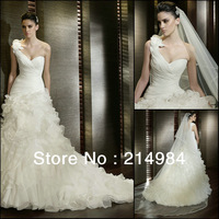 2013 Hot Sale Cheap Price Have Actual Photos Elegant One-Shoulder Organza Mermaid Wedding Dress Bridal Gown 4 Colors