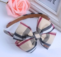 Free shipping wholesale 2013 newest British style plaid design bowknot hair bands for women hair accessories baby girls headband