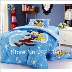 mickey and minnie bedding twin size cartoon bedding set blue mickey mouce comforter set the bed line free shipping(China (Mainland))