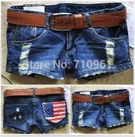 Short Women Hot Sales Regular Low Thin Hole 2014 Summer New Arrival Women's Fasion Denim Shorts America Flag Size free Shipping