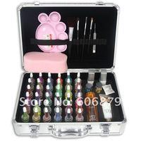 Pro Body Art Deluxe Kit (38color) powder/stencil/glue/brush/Tweezers glitter tattoo kit beginner tattoo kit supplies