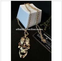 Korean 2013 fashion exaggerated punk skull long necklace all match necklace sweater chain necklace female free shipping