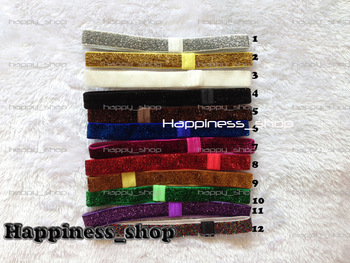 Hari accessory 120pcs Glitter Headbands Elastic Headbands Interchangeable Loop Headbands 12 Colors Pink Headbands Free Shipping