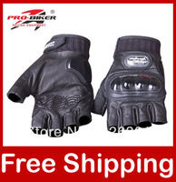 Goat Leather Gloves Motorcycle Racing Half Finger Gloves Pro-biker MCS-04H Free Shipping