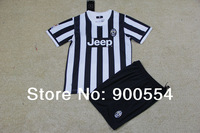 New Season!13/14Juventus Home Black  kids soccer football jerseys + shorts, customed name andnumber  free  shipping