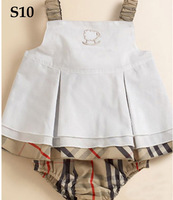 Free Shipping 2013 New--kids girls 2pcs set, baby outfit white T-shirt+ beige plaid dress, SIZE:9-12m 12-18M 18-24M 2Y 3Y 4Y,