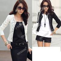 New Korea Fashion Women's Long Sleeve Shrug Suits Blazer Short Outerwear Coat Jacket White/ Black SV18 7164