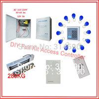 Free ship ,access control kit ,keypad EM access control+power+280kg magnetic lock+ZL bracket+button+10em key fob