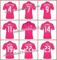 2014-15 La Liga Real Madrid away soccer jersey pink sweatshirt Thai version JESE #20 BALE #11 Ronaldo # 7  Sergio Ramos# 4