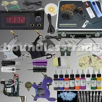 OPHIR Professional 4 Machine Tatto Kit Motor Guns Set 9 Colour Pigment with Aluminum Box_TA007