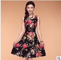 2014 Fashion Women Dress Plus size Bohemian Lady Dress for Woman Flower Print Floral Sleeveless Summer 8 colors L,XL,XXL,3XL,4XL