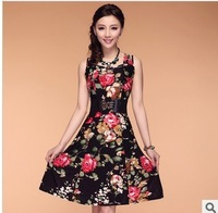 2014 Fashion Women Dress Plus size Bohemian Lady Dress for Woman Flower Print Floral Sleeveless Summer 8 colors L,XL,XXL,3XL,4XL