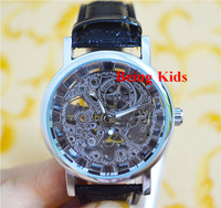 Free Shipping!!! Winner brand Mens Silver Skeleton Auto Mechanical Watch Wrist Watch Black Leather Strap Drop Ship