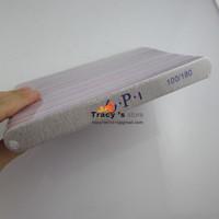 Free shipping Grey Straight Nail File Buffing Sandpaper Slim long round shape Nail Art Buffer Tool 25PCS/Lot 100/180