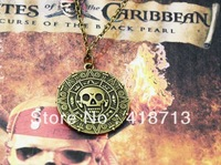 Pirates of the Caribbean JACK SPARROW AZTEC Coin Pendant Chain Necklace Gold/Bronze Free Shipping Update version