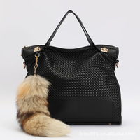 NEW 2013 Winter WEIDIPOLO fashion brand PU leather women's handbag retro black fox fur fringed Women messenger bag free shipping